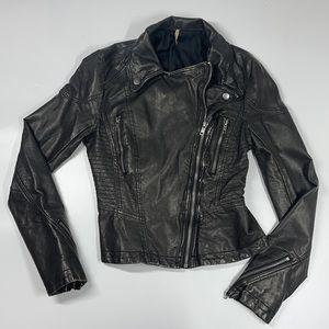 Free People Vintage Black Vegan Faux Leather Moto Jacket Size 0